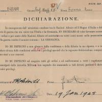 Dichiarazione di cooperazione firmata dal prigioniero Enzo Fossa